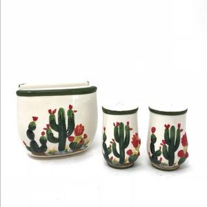 ARC Hand Painted Cactus Shaker Set Napkin Holder